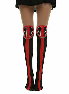 NEW Marvel Deadpool LOGO Part Sheer/Black/Red Tights Pantyhose Nylons S/M