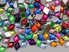 10x7mm Assorted Colors Flat Back Acrylic Diamond Gems - 300 Pieces