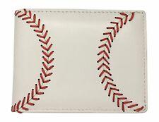 BallPark Leather Men's Baseball Seam Bi-fold Leather Wallet