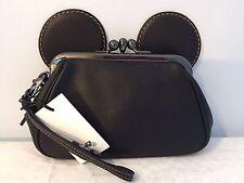Coach X Disney Mickey Mouse Smooth BLACK Leather Kisslock Wristlet Clutch 65794