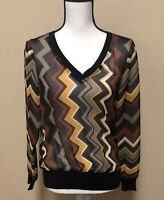 MISSONI for Target Sweater Brown Yellow Multi Chevron Stripe sheer Top Size M