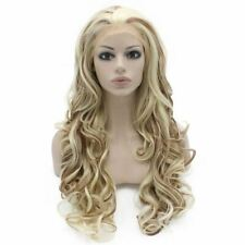 Long Wavy Blonde Auburn Mix Two Tones Wig Synthetic Lace Front Wig