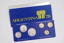 ARGENTINA 6 COINS SET - 3 IN SILVER ORIGINAL WALLET SOCCER 1978 B26 CG17