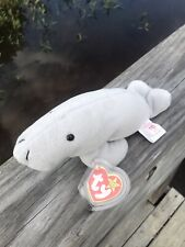 👀Ty Beanie Baby - Manny the Manatee Pvc Pellets 1995 Unique With White Tag!