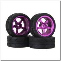4x RC1:10 On Road Car Arrow Pattern Rubber Tire Purple Wheel Rims Alloy 5 Spoke