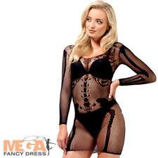 Sexy Skeleton Bone Net Dress Ladies Fancy Dress Halloween Womens Adults Costume