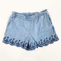 Gap Kids Girls Chambray Denim Jean Eyelet Pull On Shorts Size Medium