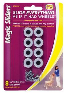 Magic Sliders Plastic Floor Slide Gray Round 3/4 in. W x L 8 pk