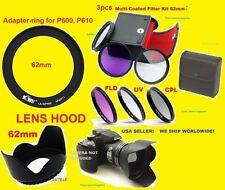 Bague Adaptateur+Filtre Kit+Lentille Capuche Nikon Coolpix P510 P520 P530 62mm