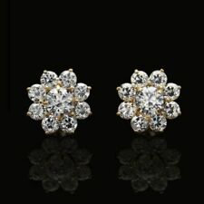 1.5Ct Created Diamonds 2 in 1 Flower Jacket Stud Earrings 14K Yellow Gold