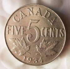 1934 CANADA 5 CENTS - Excellent Collectible - FREE SHIP - Canada Nickel Bin