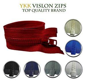 YKK Chunky Vislon Zip #5 Open End Plastic Zipper Single Slider Strong Branded UK