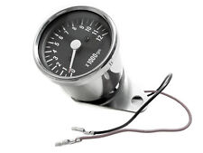 Single Fire Electronic Tach / Mini Tachometer 48mm Black Face M.M.B Harley Motor