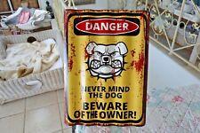 Blechschild Türschild DANGER Never Mind The Dog Gewellt Retro 40x29cm Metall NEU