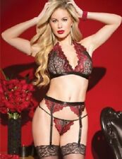 Ladies Sexy Lace Lingerie-Black/Deep Red Halter Neck Bra 3piece Bra Set