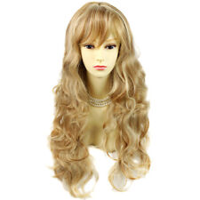 Sexy Beautiful Curly Strawberry Blonde mix Long Wavy Ladies Wigs skin top wig UK