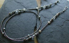 """Silvery Moon"" Handmade Glasses Chain Spectacles Holder Glass Beads"