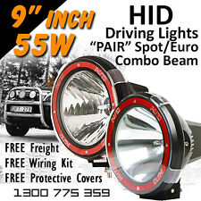 HID Xenon Driving Lights - Pair 9 Inch 55w Spot Euro Beam Combo 4x4 4wd Off Road