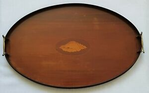 ANTIQUE MAHOGANY SERVING TRAY BRASS HANDLES GALLERY MARQUETRY INLAID CONCH SHELL