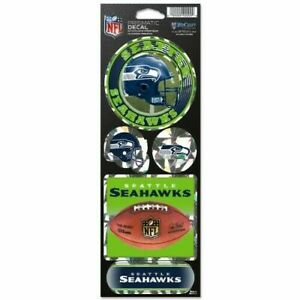 """Seattle Seahawks 4"""" x 11"""" Sheet of Prismatic Decals"""