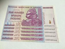 5 x Zimbabwe 500 MILLION Dollar Notes AB/2008 Consecutive Numbers UNC *BARGAIN*