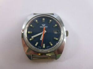 WALTHAM 70's Classic Dive Watch Stainless Case Blue Dial RARE! RP6