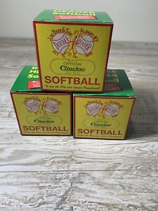 Lot of 3 No. F 12 Official Clincher Softballs (UNUSED AND UNOPENED) DeBeer