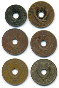 East Africa Tanzania Set of 6 Bronze Coins 5, 10 Cents 1925 - 1951
