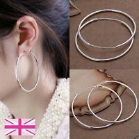 925 Sterling Silver Hoop Earrings Large Hooped Sleeper 50mm 5cm Quality UK