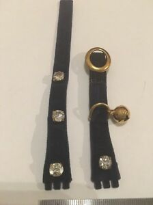 132 Swatch 12mm Ladies Small watch strap Navy Velvet Crystals 'be Brave'