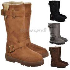 Womens Girls Ella Biker Buckle Fur Lined Flat Winter Snug Snow Boots Size 3-8