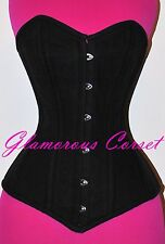 Cotton Corset Steel Boned Overbust Real Waist Training Tightlacing Size XS-3XL