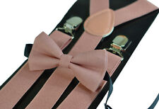 Warm Dusky Dusty Rose Pink Blush Pink Bow Tie +  Suspenders Braces for all ages