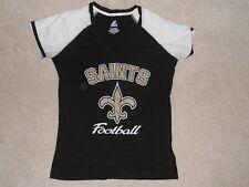 New Orleans Saints  Football Shirt Womens Misses Classic Top Majestic V-Neck  Lg