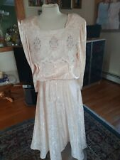 Vintage Nilani 80's Lace Pleated Peach Dress