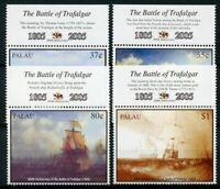 Palau Ships Stamps 2005 MNH Battle of Trafalgar 200 HMS Victory Boats 4v Set