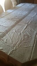 "Elegant Vintage Beige Silk Bed Cover with lace Insert In The Center 60"" X 90"""