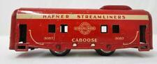 Hafner 3057 red caboose Streamlined freight Overland Flyer tinplate Made USA O27