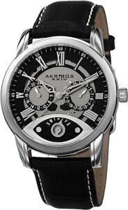 Akribos XXIV AK725SSB GMT Day Date Leather Strap Silvertone Black Mens Watch