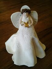 Vtg Xmas Angel Figurine Hand Crafted Signed Tree Topper Holiday Table Home Decor