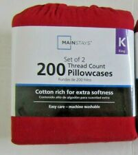 Mainstays 200 Thread Count Percale Pillowcases King Sedona Red NEW