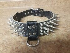"""Black Heavy Duty Leather Studded Spiked Dog Collar 21-24"""" 2"""" wide New"""