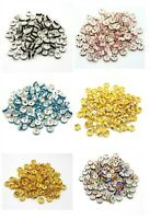 100 Pcs Quality Rhinestone Spacer Beads Gold & Silver Plated 4mm 6mm 8mm 10mm ML
