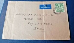 Great Britain to India 1944 War Time Forces Airmail to India