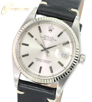 Rolex Mens Datejust SS 36mm Silver  Dial Fluted  Bezel Black  Leather Watch