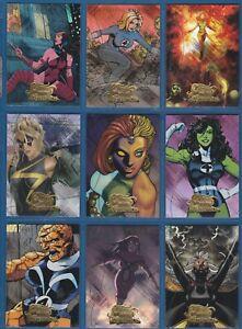Complete Sub-Set! 2008 Fleer Marvel Masterpieces 2 MARVEL HEROINES Foil | MH1-9