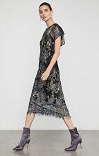 BCBG Max Azria Womens Black Metallic Floral Sheer Midi Dress 6 BHFO 1897