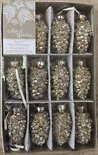 MINI SILVER GLITTERY PINECONE GLASS CHRISTMAS TREE ORNAMENT SET 12