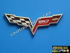 60TH CORVETTE Z06 CHECKERED CROSSED FLAG EMBLEM BADGE ANNIVERSARY REAR DECK NEW