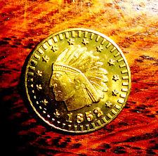 1852 Faux Gold California Token Coin Medal Indian Chief Head Brilliant Mint BU